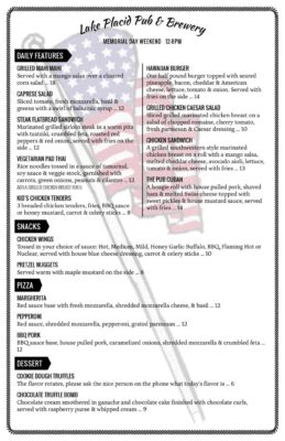 Pub Memorial Day Weekend Menu Page 001